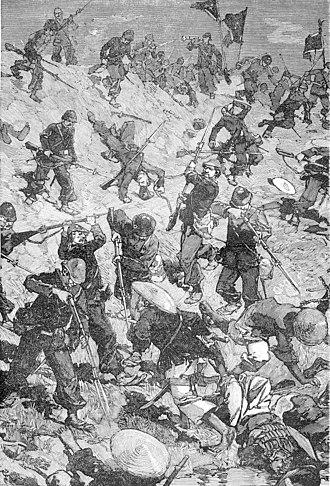 Battle of Palan - Taccoën's marine infantry company storms the dyke at Palan