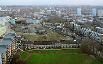 Deptford - View of Pepys Park, Convoys Wharf, Sayes Court, and over Deptford towards Lewisham