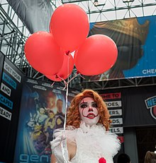 Cosplayer (Pennywise from It) at New York Comic Con, October 2018.jpg