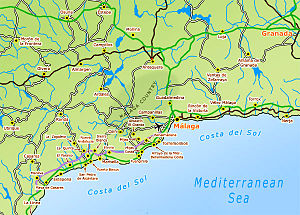 Costa del Sol - Map of Costa del Sol - cities, towns, resorts, villages