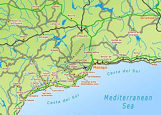 Costa del Sol - Map of Costa del Sol - cities, towns, resorts, villages