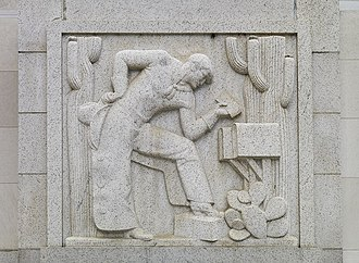 Nix Federal Building - Mail Delivery – West, a relief by Edmond Amateis, by the Ninth Street entrance nearest Market St.