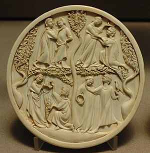 Medieval art - Scenes of courtly love on a lady's ivory mirror-case. Paris, 1300–1330.