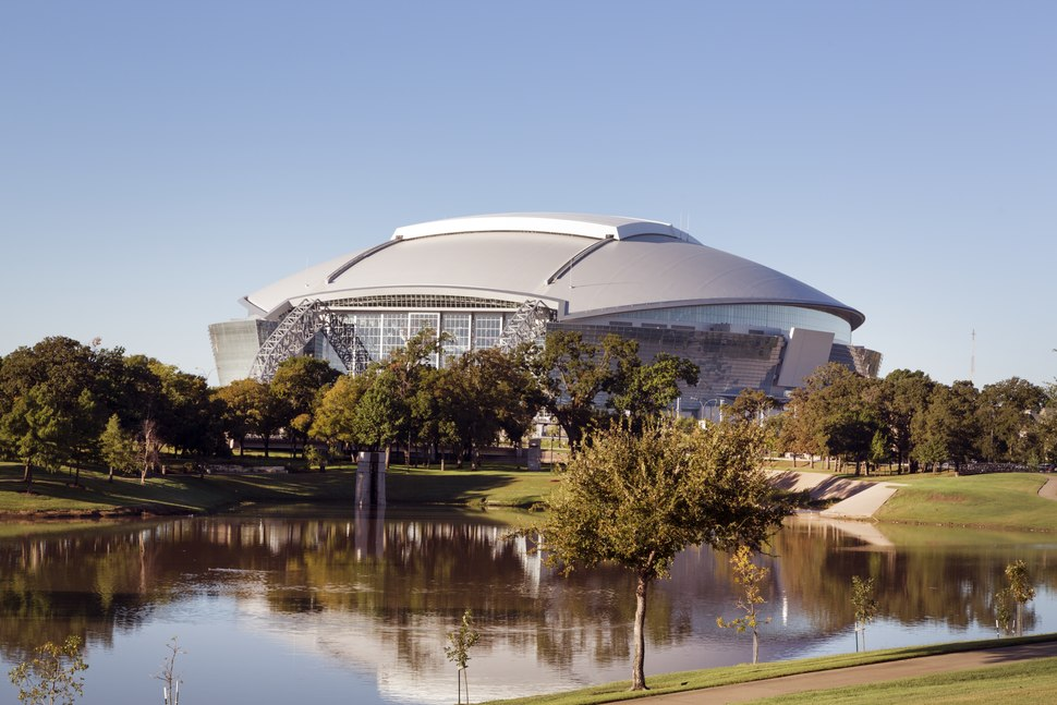 Cowboys Stadium, a domed stadium with a retractable roof in Arlington, Texas LCCN2013650777