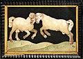 Credenza italiana del xvi secolo e stipo con intarsi in pietre dure delle botteghe medicee granducali, 1620 ca. 04 arieti in lotta.jpg
