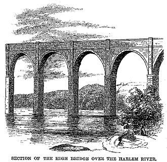 High Bridge (New York City) - A print from Harper's Magazine, 1860