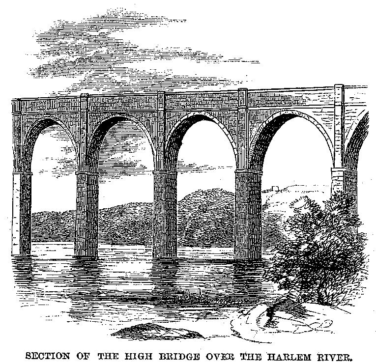 Croton Aqueduct - Harper's 1860 - Section of the high bridge over the Harlem River