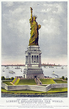 Color picture of the Statue of liberty and ellis island. The statue is in green