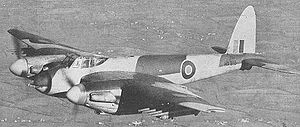 Heavy fighter - A de Havilland Mosquito heavy fighter, armed with cannon and rockets