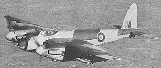 Heavy fighter - A de Havilland Mosquito heavy fighter, armed with cannon and rockets.