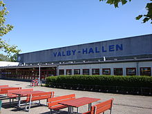 An external view of Valby Hallen indoor arena.