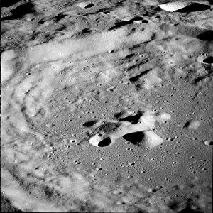 Daedalus (crater) - Closeup of the interior from Apollo 11