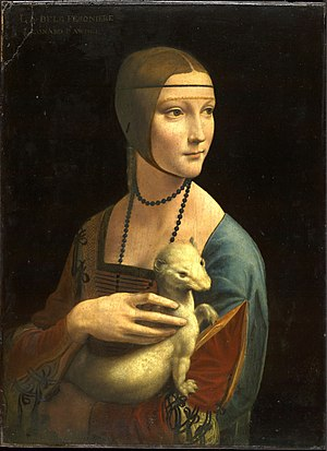 History of Italian fashion - Cecilia Gallerani, mistress of Ludovico Sforza, Duke of Milan. This portrait was painted by Leonardo da Vinci c. 1489. The painting reflects Italian fashion in the 15th century.