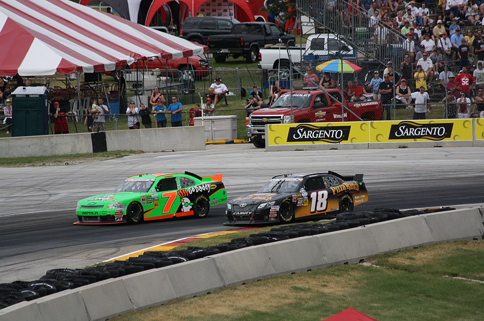 Danica Patrick being Passed after leading straightaway 2012 Road America Sargento 200