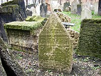 Photo of the tombstone of David Gans in Prague