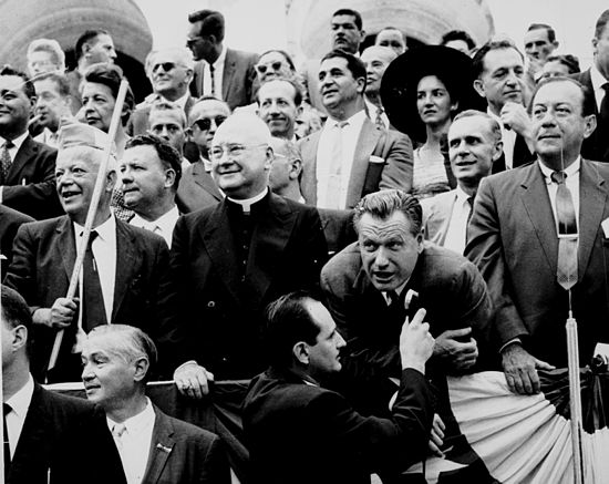 Nelson Rockefeller with labor leader David Dubinsky, Mayor Robert F. Wagner Jr., and Cardinal Spellman at the 1959 Labor Day Parade in New York City David Dubinsky, Nelson Rockefeller, and Robert Wagner watch the 1959 Labor Day parade.jpg