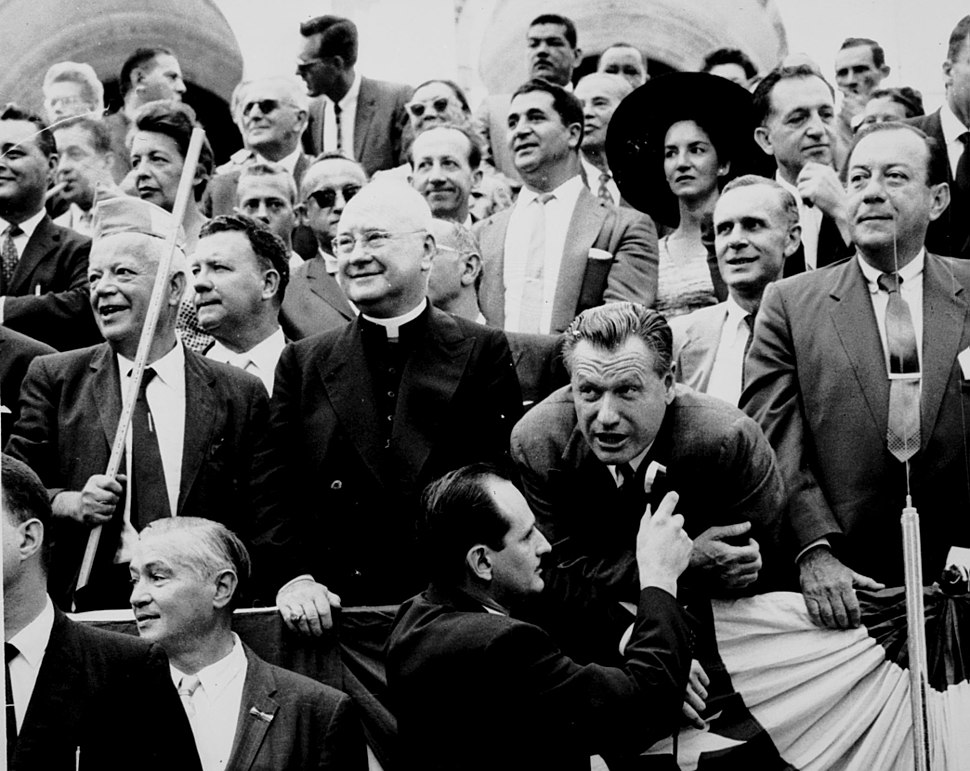 David Dubinsky, Nelson Rockefeller, and Robert Wagner watch the 1959 Labor Day parade