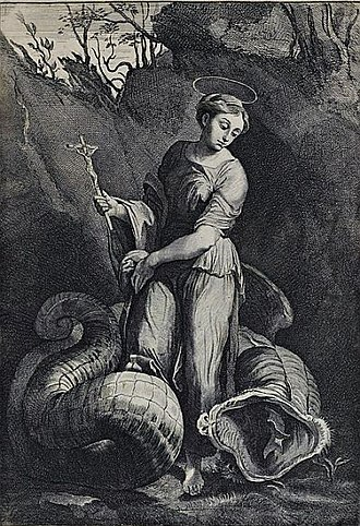 St Margaret and the Dragon (Raphael) - Image: Davidis Teniers After Raphael