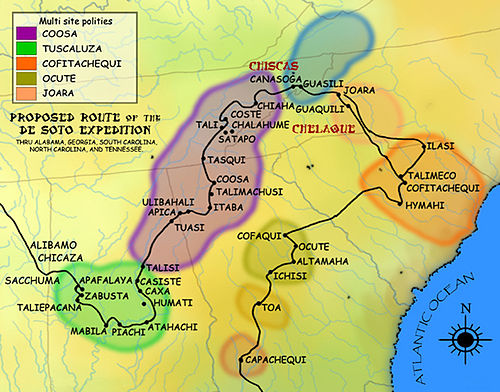 The second leg of the de Soto Expedition, from Apalachee to the Chicaza DeSoto Map Leg 2 HRoe 2008.jpg