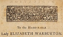 "Underneath a decorative frieze, the words ""To the Honourable Lady Elizabeth Warburton"""