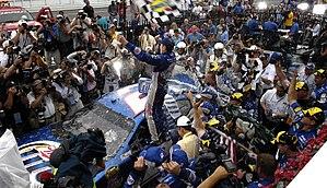 2007 Pennsylvania 500 - Kurt Busch celebrating winning the Pennsylvania 500.