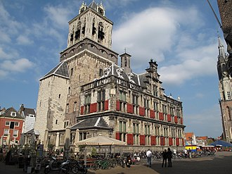 City Hall (Delft) - City Hall, Markt, Delft. The building with the red shutters dates back to 1618-20, while the belfry is much older and is covered in expensive Belgian limestone.