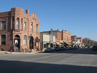 Dell Rapids, South Dakota - Sioux Quartzite  was used in the reconstruction of downtown Dell Rapids after a fire burned down the wooden buildings in the 1880's.