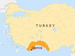 Location of Demre in Antalia province, Turkey.