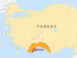 Demre - Image: Demre location in Antalia province on a map of Turkey