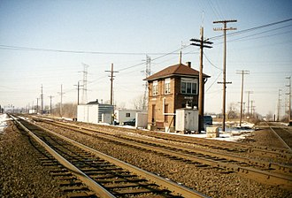 Interlocking - The tower and tracks at Deval interlocking, Des Plaines, Illinois, in 1993