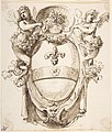 Design for a Cartouche flanked by winged Sirens with a Coat of Arms containing a Fleur-de-Lis MET DP808007.jpg