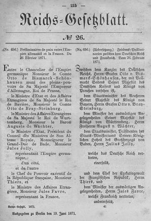Treaty of Versailles (1871) - 1871 Imperial Law Gazette of Germany