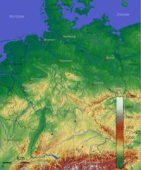 Németország domborzati térképe
