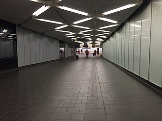 Dey Street Passageway - Inside the passageway, facing Cortlandt Street. The section to the WTC Transportation Hub, which was opened on May 26, 2016, is at this end.