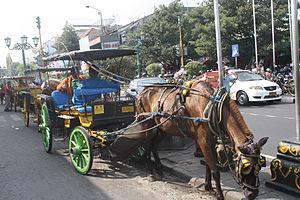 Bahasa Indonesia: Dhokar yang ada di jalan mal...