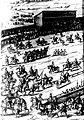 Diederich Graminaeus (1550-1610). Beschreibung derer Fürstlicher Güligscher ec. Hochzeit (Johann Wilhelm von Jülich-Kleve-Berg ∞ Jakobe von Baden-Baden, Hochzeit in Düsseldorf im Jahre 1585), Köln 1587 Nr. 90, Ausschnitt (Hälfte, links).JPG