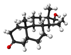 A ball-and-stick model of dihydrotestosterone.