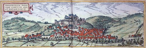 Castle and city of Dillenburg in the duchy Nassau, the birthplace of William the Silent Dillenburg 1575.jpg
