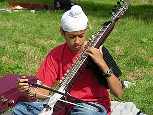 Esraj - A Sikh boy playing the Dilruba