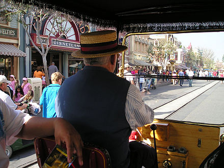 Main Street at Disneyland as seen from a Horseless Carriage DisneylandDriverMainSt wb.jpg