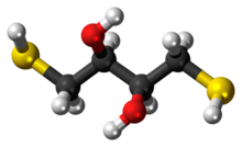 Ball-and-stick model of the dithiothreitol molecule