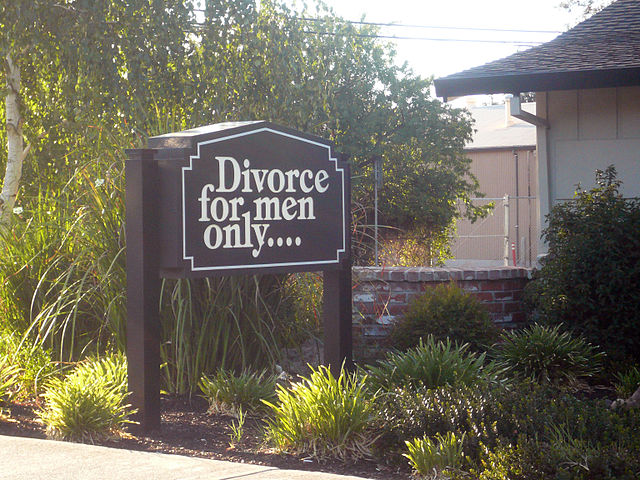 Divorice for men only By mandiberg (divorce for men only...) [CC-BY-SA-2.0 (https://creativecommons.org/licenses/by-sa/2.0) or Public domain], via Wikimedia Commons