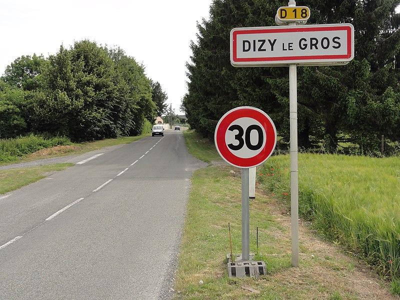 Dizy-le-Gros (Aisne) city limit sign