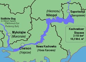 Site plan of the Kachowka reservoir