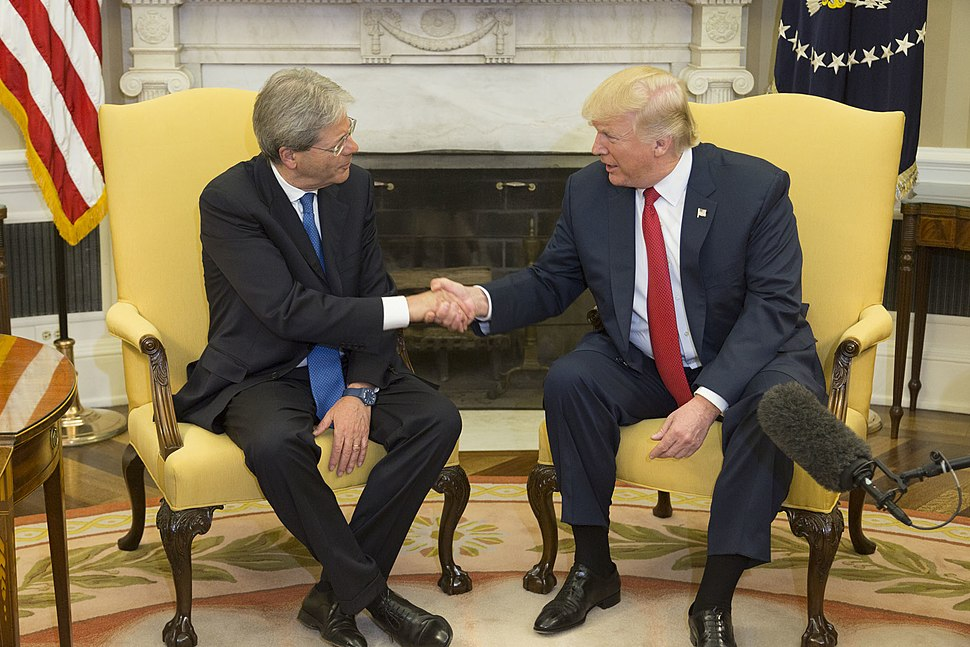 Donald Trump and Paolo Gentiloni in the Oval Office, April 20, 2017