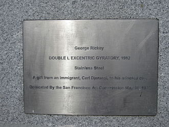Double L Excentric Gyratory - Plaque for the sculpture in San Francisco