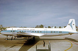 Mackey Airlines - Mackey International Douglas DC-6B operating a scheduled passenger service from Miami International Airport in 1975.