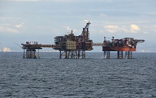 oil field and complex of oil platforms in the Irish Sea