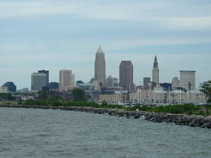 English: Downtown Cleveland as viewed from Edg...