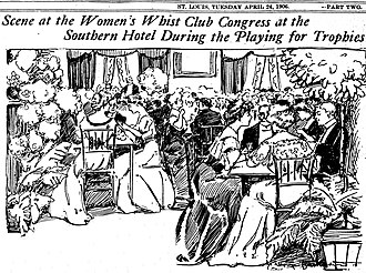 Whist - Drawing by Marguerite Martyn for the St. Louis Post-Dispatch of a session of the Women's Whist Club Congress, April 1906, in St. Louis, Missouri
